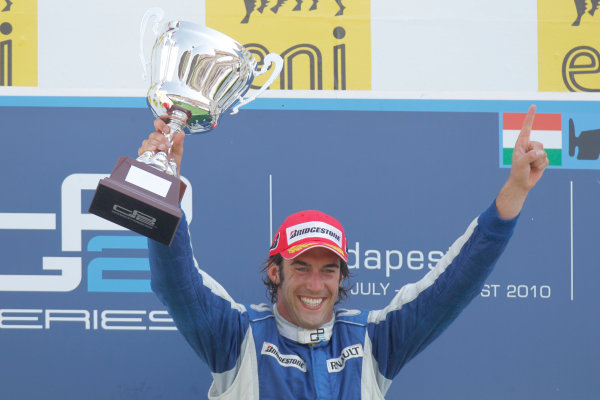 Hungaroring, Budapest, Hungary. 1st August.Sunday Race.Giacomo Ricci (ITA, DPR) celebrates his victory on the podium. Portrait.Photo: Glenn Dunbar/GP2 Media Service.Ref: __G7C5715 jpg
