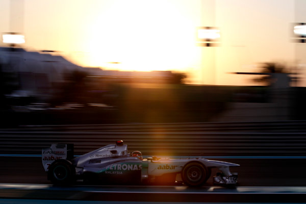 Yas Marina Circuit, Abu Dhabi, United Arab Emirates12th November 2011.Michael Schumacher, Mercedes GP W02. Action. World Copyright:Glenn Dunbar/LAT Photographic ref: Digital Image _G7C4415
