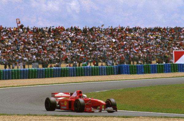 Magny-Cours, France.27-29 June 1997.Michael Schumacher (Ferrari F310B) 1st position.Ref-97 FRA 09.World  Copyright - LAT Photographic