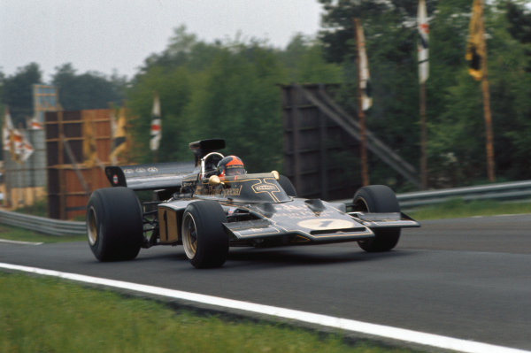 1973 Belgian Grand Prix.  Zolder, Belgium. 18-20th May 1973.  Emerson Fittipaldi, Lotus 72E Ford, 3rd position.  Ref: 73BEL39. World Copyright: LAT Photographic