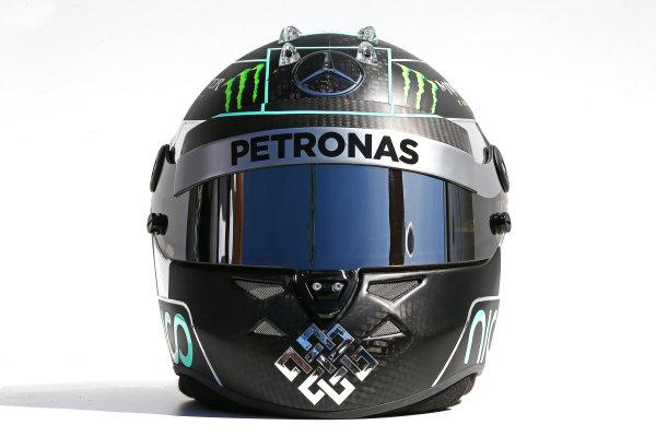 Albert Park, Melbourne, Australia. Thursday 13 March 2014. The helmet of Nico Rosberg (GER) Mercedes AMG F1. World Copyright: xpb Images/LAT Photographic. ref: Digital Image 2014helmets11