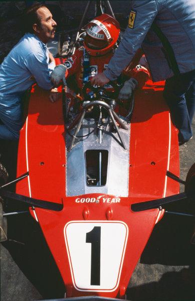 Zolder, Belgium. 14th - 16th May 1976. Niki Lauda (Ferrari 312T2), 1st position, portrait.  World Copyright: LAT Photographic.  Ref: 76 BEL 30.