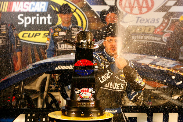 1-3 November, 2013, Fort Worth, Texas USA Jimmie Johnson celebrates in victory lane © 2013, Russell LaBounty LAT Photo USA