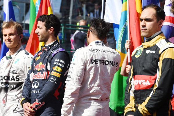 Grid Presentation for the national anthem at Formula One World Championship, Rd1, Australian Grand Prix, Race, Albert Park, Melbourne, Australia, Sunday 15 March 2015.