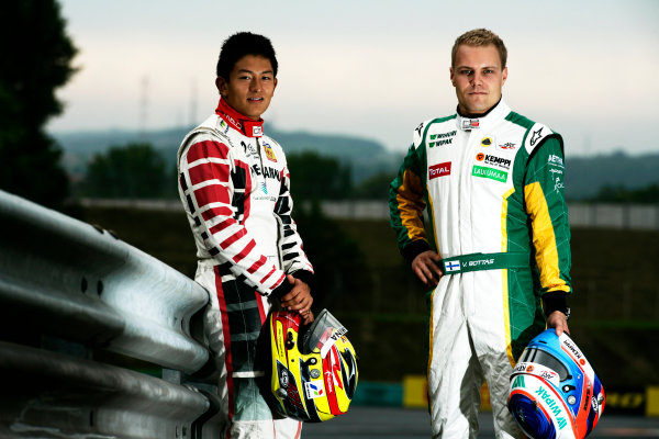 Round 6. Hungaroring, Budapest, Hungary, 28th July 2011.Thursday Preview. Rio Haryanto, (INA, Marussia Manor Racing) and Valtteri Bottas, (FIN, Lotus ART) winners of races 9 and 10 at round five at the Nurburgring, Germany. Portrait. Photo: Drew Gibson/GP3 Media Service. ref: Digital Image _Y2Z6624