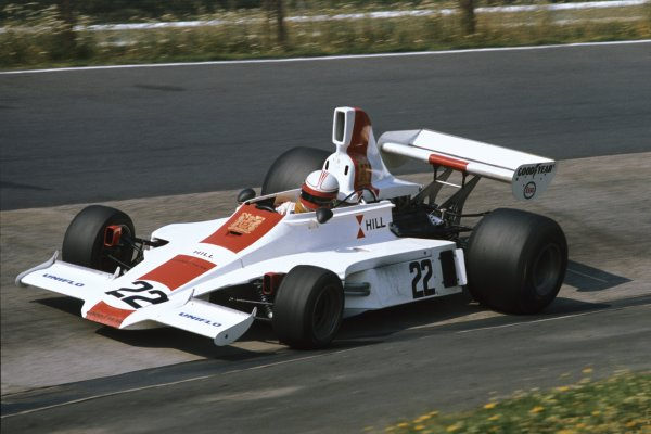 1975 German Grand Prix.  Nurburgring, Germany. 1-3rd August 1975. Alan Jones (Hill GH1-Ford), 5th position, action. World Copyright: LAT Photographic. Ref: 75GERa.