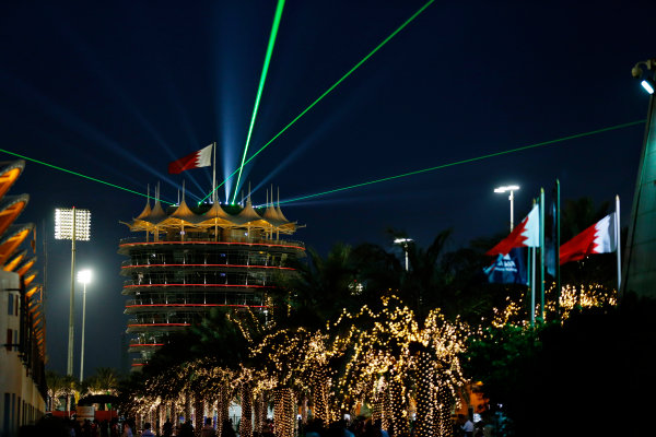 Bahrain International Circuit, Sakhir, Bahrain. Thursday 16 April 2015. The paddock at night. World Copyright: Alastair Staley/LAT Photographic. ref: Digital Image _R6T3807