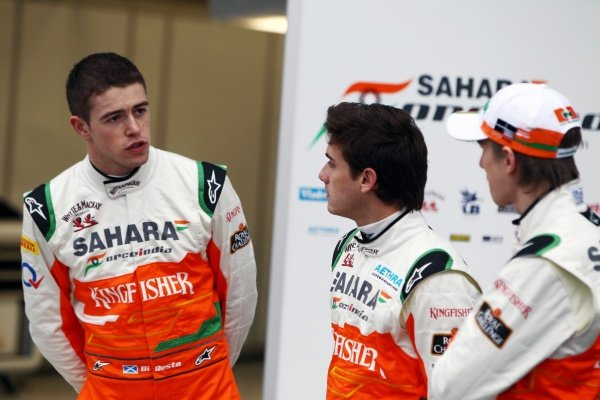 (L to R): Paul di Resta (GBR), Jules Bianchi (FRA) and Nico Hulkenberg (GER). Sahara Force India VJM05 Unveil, Silverstone, England, Friday 3 February 2012.
