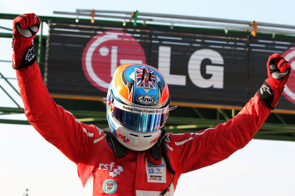 Race winner Jack Harvey (GBR) Fortec Motorsports celebrates in parc ferme.