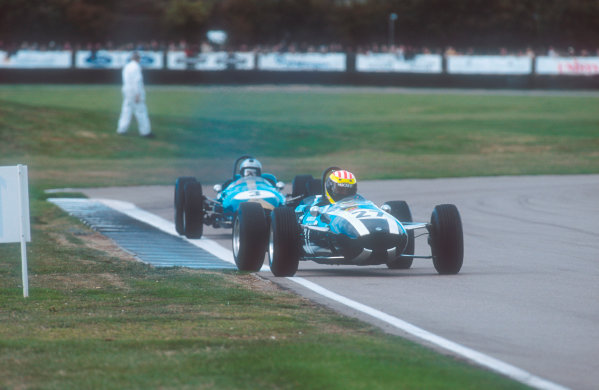 2001 Goodwood Revival.Goodwood, Sussex, England.15-16 September 2001.Paul Edwards (Cooper T79 Climax) with Frank Sytner (Brabham BT4 Climax) behind in the Glover Trophy race. Ref-01 GR 44.World Copyright - LAT Photographic
