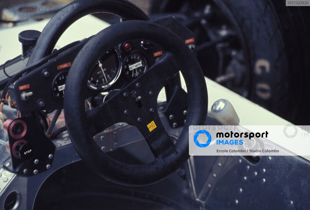 The steering wheel on one of the Surtees TS19 Fords.