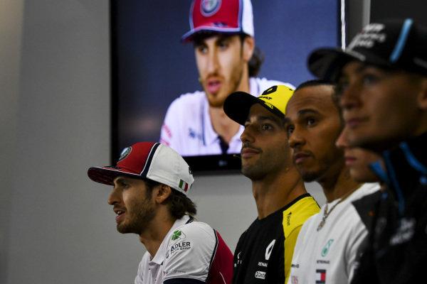 George Russell, Williams Racing, Lewis Hamilton, Mercedes AMG F1, Daniel Ricciardo, Renault F1 Team and Antonio Giovinazzi, Alfa Romeo Racing in the Press Conference