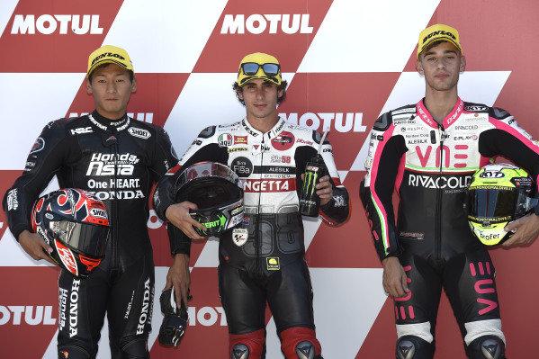 Polesitter Niccolo Antonelli, SIC58 Squadra Corse, second place Kaito Toba, Honda Team Asia, third place Tony Arbolino, Team O.