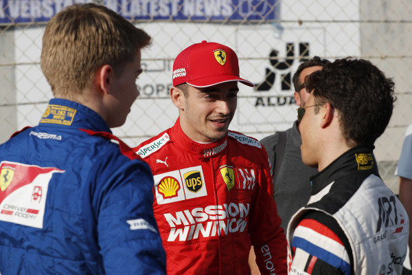F2 champion Nyck De Vries (NLD, ART GRAND PRIX), F1 champion Lewis Hamilton, Mercedes AMG F1, F3 champion Robert Shwartzman (RUS) PREMA Racing, with former GP3 and F2 champion Charles Leclerc, Ferrari