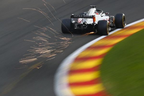 Romain Grosjean, Haas F1 Team VF-18, strikes up sparks.