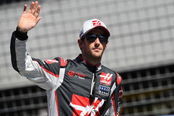 Romain Grosjean (FRA) Haas F1 on the drivers parade at Formula One World Championship, Rd1, Australian Grand Prix, Race, Albert Park, Melbourne, Australia, Sunday 20 March 2016.