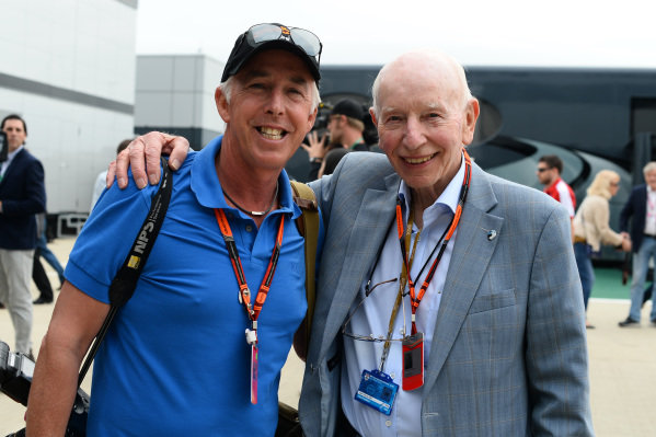 (L to R): Keith Sutton (GBR) Sutton Images CEO and John Surtees (GBR) at Formula One World Championship, Rd9, British Grand Prix, Race, Silverstone, England, Sunday 5 July 2015.