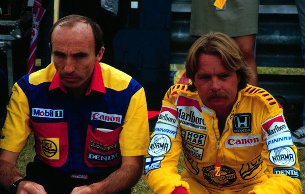 1985 Canadian Grand Prix, Montreal, Quebec, Canada.14-16 June 1985.Keke Rosberg with Williams team owner Frank Williams.World Copyright - LAT Photographic
