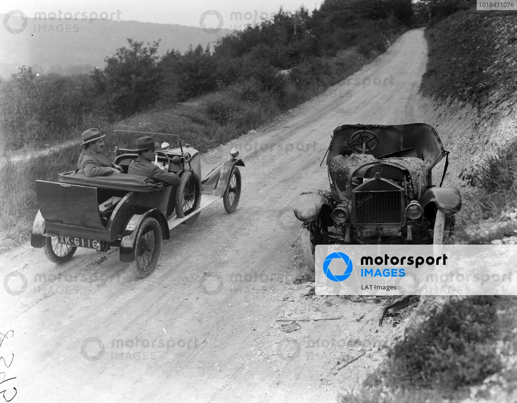 Salmson passing a burnt out Briton