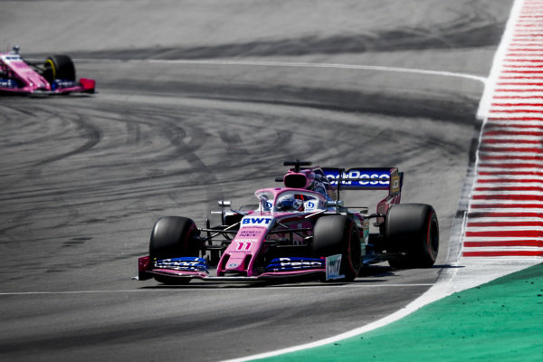 Sergio Perez, Racing Point RP19 leads Lance Stroll, Racing Point RP19