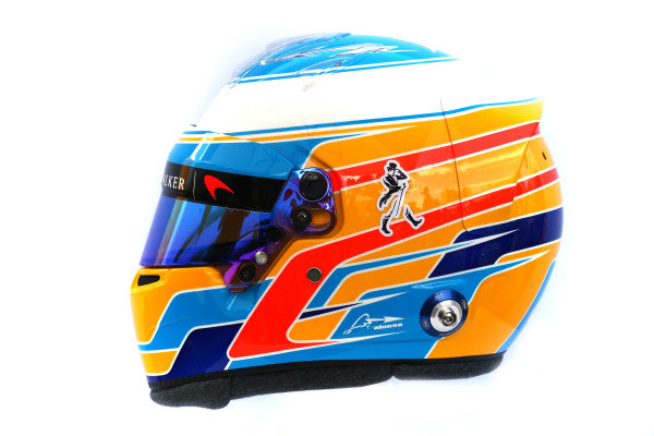 The helmet of Fernando Alonso (ESP) McLaren at Formula One World Championship, Rd1, Australian Grand Prix, Preparations, Albert Park, Melbourne, Australia, Thursday 23 March 2017.