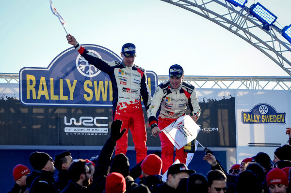 Rally winners Jari-Matti Latvala (FIN) / Miikka Anttila (FIN), Toyota Gazoo Racing WRC celebrate on the podium at World Rally Championship, Rd2, Rally Sweden, Day Three, Karlstad, Sweden, 12 February 2017.