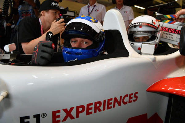 David Saelens (BEL) F1 Experiences 2-Seater Driver and F1 Experiences 2-Seater passenger Owen Wilson (USA) Actor at Formula One World Championship, Rd10, British Grand Prix, Race, Silverstone, England, Sunday 16 July 2017.