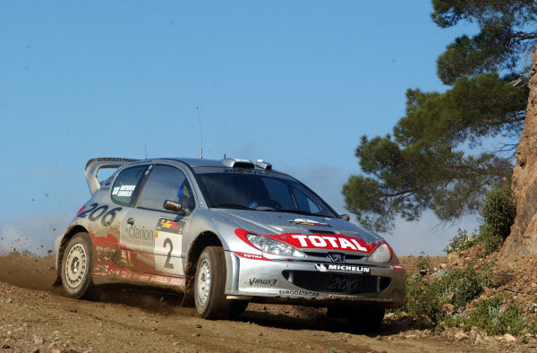 World Rally Championship, Cyprus Rally, April 18-21, 2002.Marcus Gronholm in action on Stage 8, Leg 2.Photo: Ralph Hardwick/LAT