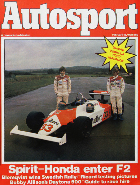 Cover of Autosport magazine, 18th February 1982