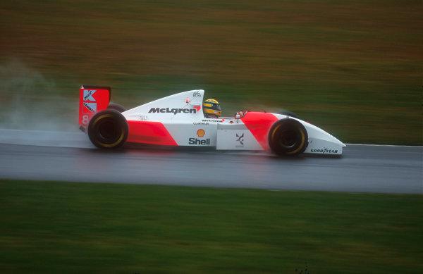 1993 European Grand Prix. Donington Park, England. 9-11 April 1993. Ayrton Senna (McLaren MP4/8 Ford) 1st position. Ref-93 EUR 33. World Copyright - LAT Photographic
