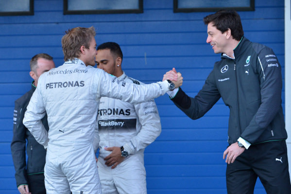 Nico Rosberg (GER) Mercedes AMG F1 and Toto Wolff (AUT) Mercedes AMG F1 Director of Motorsport. Formula One Testing, Jerez, Spain, Day One, Tuesday 28 January 2014.