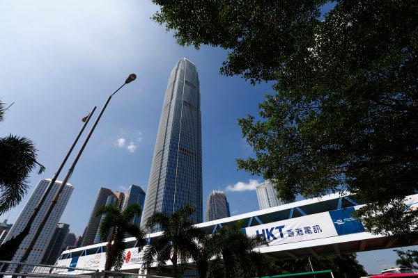 2016/2017 FIA Formula E Championship. Hong Kong ePrix, Hong Kong, China. Thursday 6 October 2016. A view of a skyscraper surrounding the circuit. Photo: Zak Mauger/LAT/Formula E ref: Digital Image _X0W0892