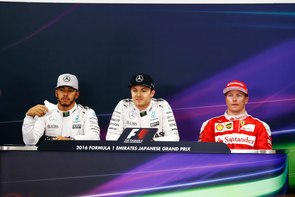Suzuka Circuit, Japan. Saturday 08 October 2016. The post-qualifying press conference. L-R: Lewis Hamilton, Mercedes AMG, Nico Rosberg, Mercedes AMG and Kimi Raikkonen, Ferrari.  World Copyright: Andy Hone/LAT Photographic ref: Digital Image _ONY5230