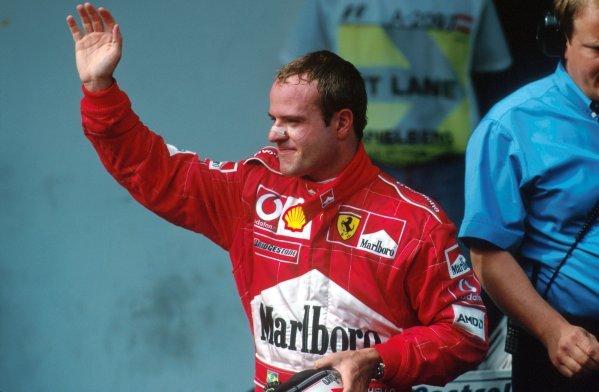 Rubens Barrichello (BRA) the real winner of the race. Formula One World Championship, Rd6, Austrian Grand Prix, A1-Ring, Austria. 12 May 2002. BEST IMAGE