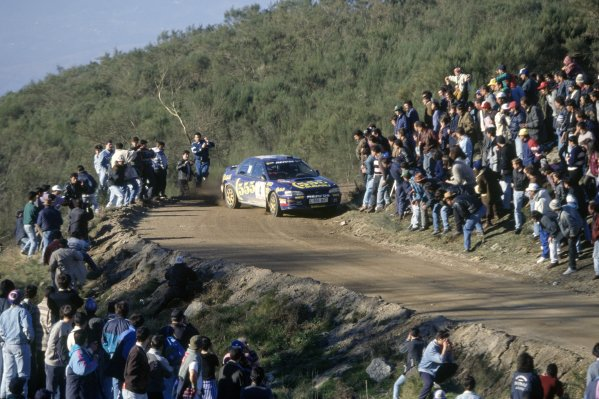 1995 World Rally Championship.Portuguese Rally, Portugal. 8-10 March 1995.Colin McRae/Derek Ringer (Subaru Impreza 555), 3rd position.World Copyright: LAT PhotographicRef: 35mm transparency 95RALLY16