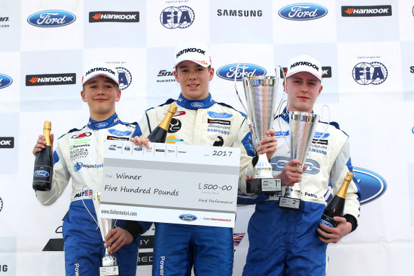 2017 F4 British Championship, Brands Hatch, 1st-2nd April 2017 Race 2 Podium, Monger, Simmons and Pasma World Copyright. JEP/LAT Images