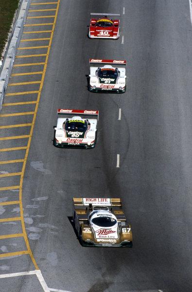 Race winners Bob Wollek (FRA) / Derek Bell (GBR) / John Andretti (USA) Porsche 962. IMSA, Rd1, Daytona 24 Hours, Florida, USA. 4-5 February 1989.