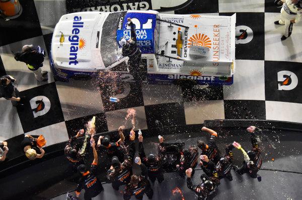 NASCAR Camping World Truck Series NextEra Energy Resources 250 Daytona International Speedway, Daytona Beach, FL USA Friday 16 February 2018 Johnny Sauter, GMS Racing, Allegiant Airlines Chevrolet Silverado celebrates his win World Copyright: Nigel Kinrade LAT Images