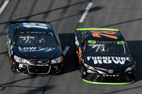Monster Energy NASCAR Cup Series First Data 500 Martinsville Speedway, Martinsville VA USA Sunday 29 October 2017 Martin Truex Jr, Furniture Row Racing, Furniture Row/Denver Mattress Toyota Camry and Reed Sorenson, Premium Motorsports, Low T Centers Chevrolet SS World Copyright: Nigel Kinrade LAT Images
