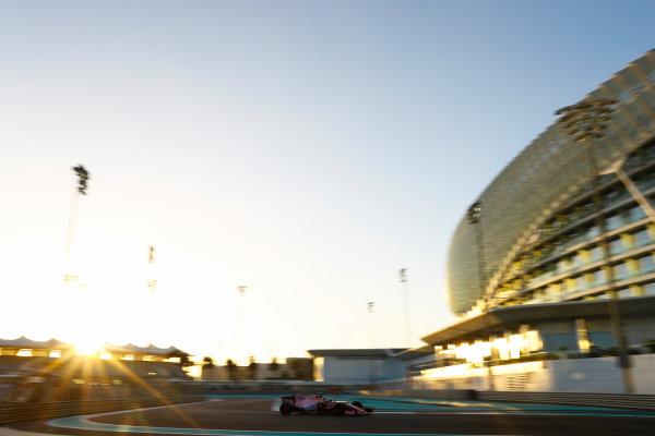 Yas Marina Circuit, Abu Dhabi, United Arab Emirates. Wednesday 29 November 2017. Sergio Perez, Force India VJM10 Mercedes.  World Copyright: Joe Portlock/LAT Images  ref: Digital Image _R3I6512