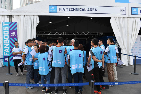 2017/2018 FIA Formula E Championship. Riound 1 - Hong Kong, China. Thursday 21 July 2016. Marshals meeting. Photo: Mark Sutton/LAT/Formula E ref: Digital Image DSC_0092