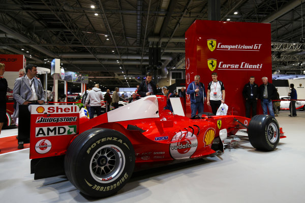 Autosport International Exhibition. National Exhibition Centre, Birmingham, UK. Sunday 14th January 2018. The Ferrari display.World Copyright: Mike Hoyer/JEP/LAT Images Ref: AQ2Y0218