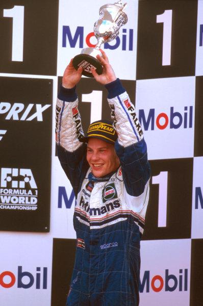 Jerez, Spain.24-26 October 1997.Jacques Villeneuve (Williams Renault) 3rd position on the podium.Ref-97 EUR 17.World Copyright - LAT Photographic