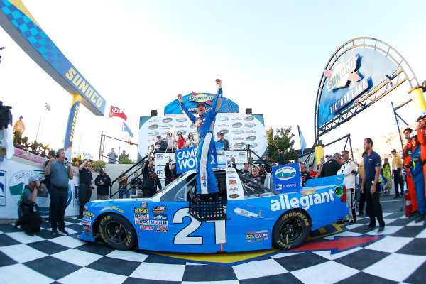 NASCAR Camping World Truck Series Bar Harbor 200 Dover International Speedway, Dover, DE USA Friday 2 June 2017 Johnny Sauter, Allegiant Airlines Chevrolet Silverado celebrates in victory lane  World Copyright: Russell LaBounty LAT Images ref: Digital Image 17DOV1rl_00579