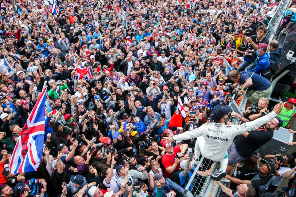 Silverstone, Northamptonshire, UK.  Sunday 16 July 2017. Lewis Hamilton, Mercedes AMG, 1st Position, celebrates with an enormous home crowd. World Copyright: Coates/LAT Images  ref: Digital Image AN7T4006