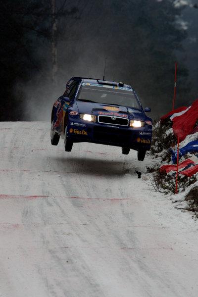 2005 FIA World Rally Champs. Round two Swedish Rally.10th-13th February 2005.Mattias Ekstrom, Skoda, action.World Copyright: McKlein/LAT