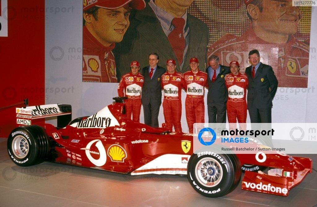 (L to R): Felipe Massa (BRA) Ferrari Test Driver, Paolo Martinelli (ITA) Ferrari Engine Director, Rubens Barrichello (BRA) Ferrari, Michael Schumacher (GER) Ferrari, Rory Byrne (RSA) Ferrari Chief Designer, Luca Badoer (ITA) Ferrari Test Driver and Ross Brawn (GBR) Ferrari Technical Director with the new Ferrari F2003-GA.Ferrari F2003-GA Launch, Maranello, Italy, 7 February 2003.