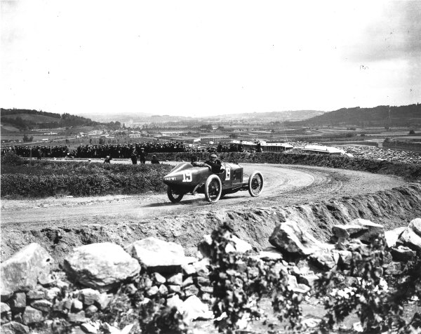 Lyons, France.4 July 1914.Jules Goux (Peugeot EX5), 4th position.Ref: Autocar Glass Plate 1238. World Copyright - LAT Photographic