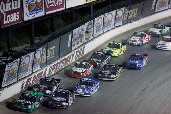 23-24 July, 2013, Rossburg, Ohio, USA Austin Dillon and Kyle Larson lead a restart © 2013, Michael L. Levitt LAT Photo USA