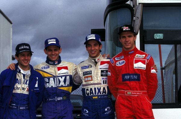 The boys from Brazil (L-R) Cristiano da Matta (BRA), Luiz Garcia Jnr. (BRA), Helio Castro Neves (BRA), Gualter Salles (BRA).British Formula Three Championship, Rd18, Thruxton, England. 15 October 1995.BEST IMAGE